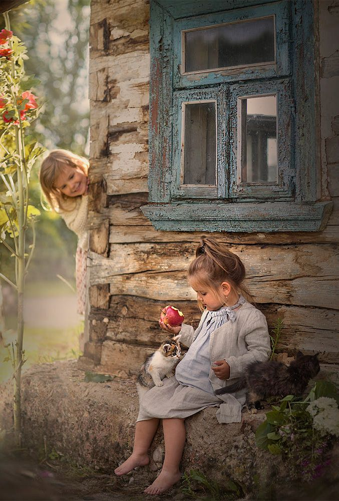 country kids and kittens