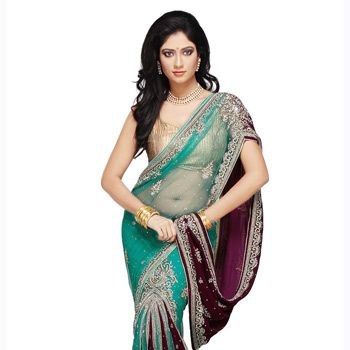 Teal Blue and Magenta Net and Velvet Lehenga Style Saree with Blouse