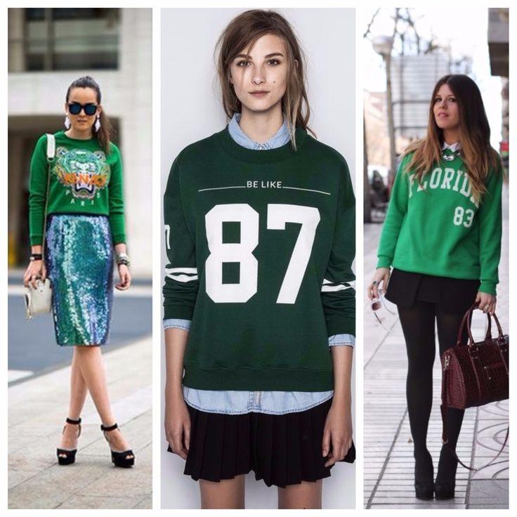 Зеленые свитшоты: модные образы, с чем носить свитшот в 2017