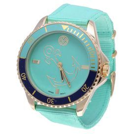 """Add an eye-catching touch to your ensemble with this vibrant watch, featuring a stainless steel case and anchor motif.  Product: WatchConstruction Material: Nylon, metal, and stainless steelColor: MintFeatures: AnalogDimensions: 1.77"""" W (face)"""