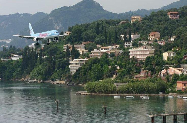 A Thomson Flight Landing at Corfu Airport, Corfu Town, Corfu Greece