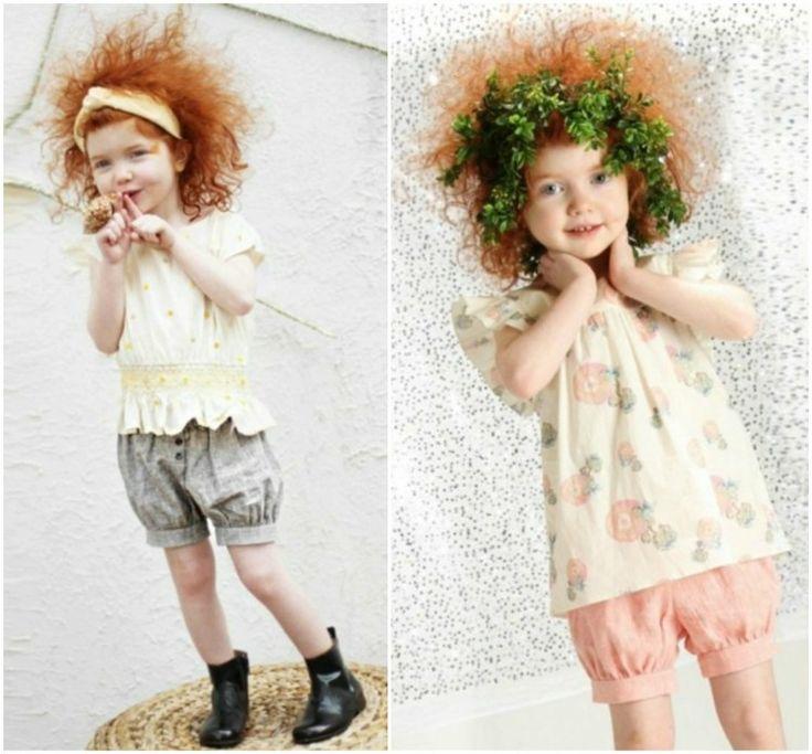 mode-petite-fille-été-shorts-rose-gris-top-jaune-pâle-blanc-cassé-motifs-floraux mode petite fille