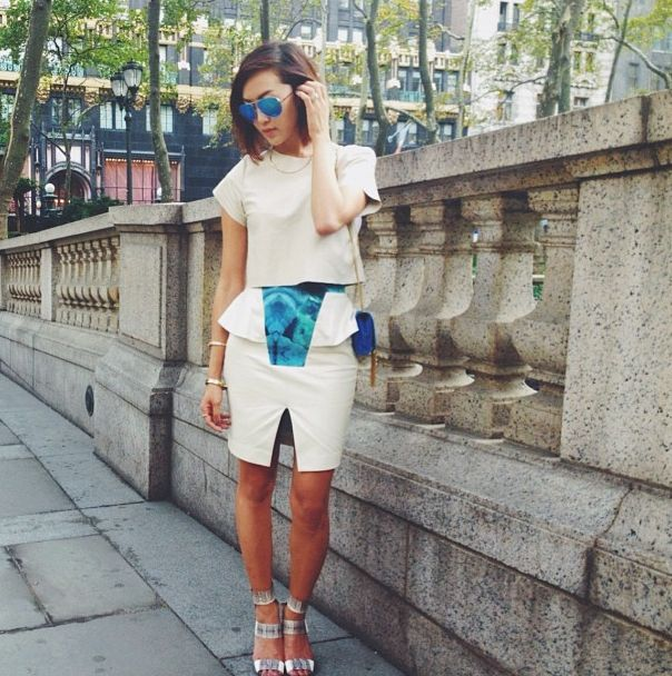The beautiful CHRISELLE, famous korean blogger in NY wears CRES. E DIM. SS14 skirt. http://thechrisellefactor.com