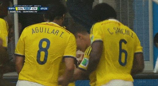 FIFA World Cup 2014 - ¡Jugadores colombianos celebran bailando cumbia al anotar un gol! - FIFA World Cup 2014, Colombia (2) vs. Costa de Marfil (1)