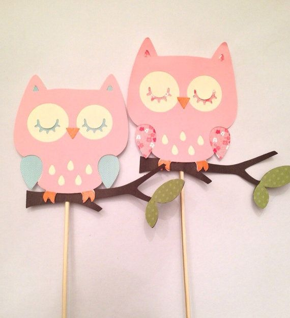 Pink Owl on branch cut out die cuts owl die cuts by DrPartyCrafts