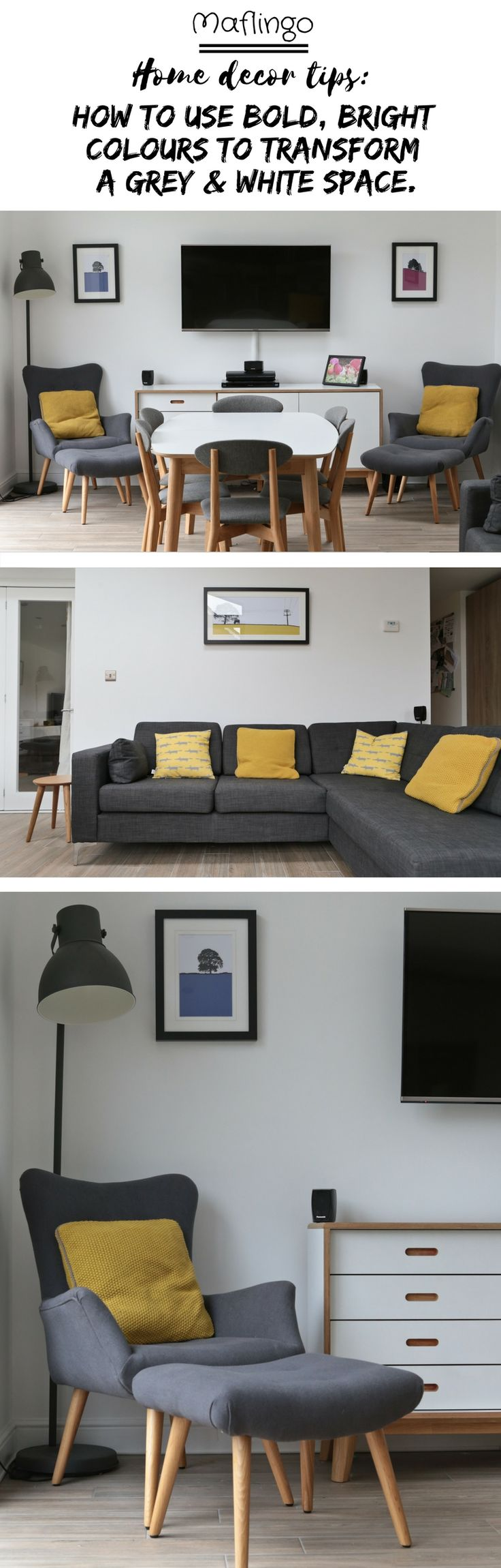 Use brightly coloured soft furnishings and wall art to transform a room with a grey colour scheme. The grey armchair, matching footstool (Homesense) and the grey Hektar Ikea lamp are 'brought to life' with the colourful Beth Jordan Cushion, Jacky Al-Samarraie - Llanbeder Framed Print. The yellow cushions make all the difference when placed on our grey corner sofa, injecting much needed colour. I love the Yellow knitted Beth Jordan cushions and the yellow Scion Mini Mr Fox Cushions.