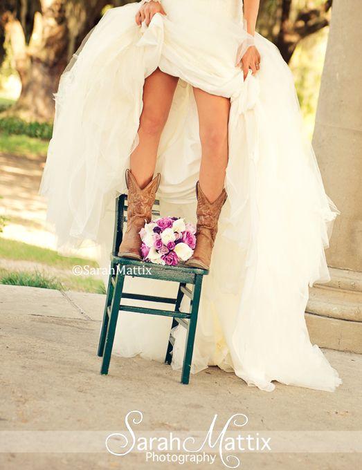 Wedding, Bride, #sarahmattix, Cowboy boots , bridal  https://www.facebook.com/sarahmattixphotographer