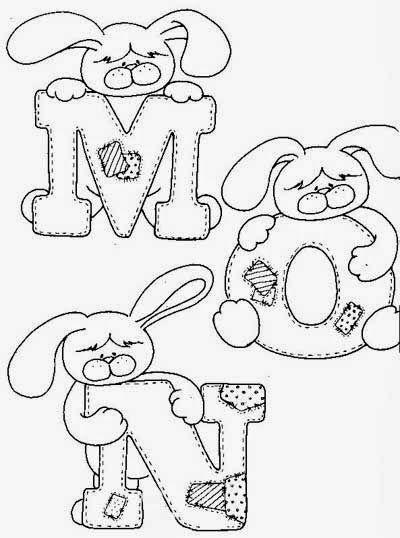 dessin du lapin de l'alphabet à peindre