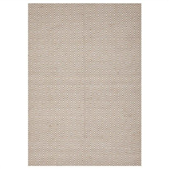 $199 Modern Double Sided Flat Weave Diamond Design Cotton Rug in Beige - 225x155cm - Contemporary Rugs
