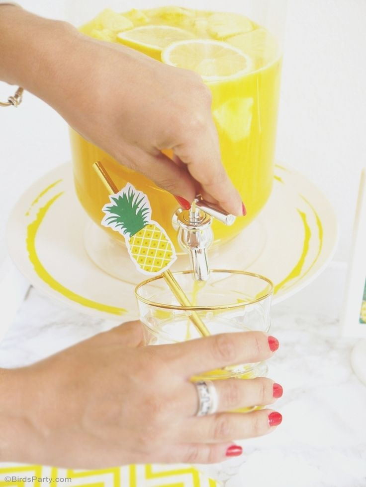 Party Like a Pineapple Birthday Party Ideas - Tropical DIY decorations, printables, dinner party food and party favors inspiration for your summer celebrations! - BirdsParty.com