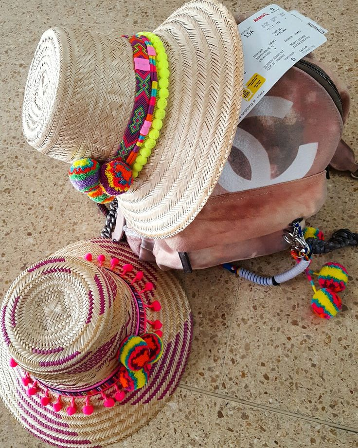 SOMBRERO WAYUU DECORADO ❤beautiful hat decorated with weave Wayuu  ♡ sombrero de…