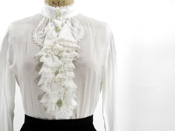 FREE SHIPPING  Vintage White Ruffled Blouse  by IvyLeagueVintage, $34.00