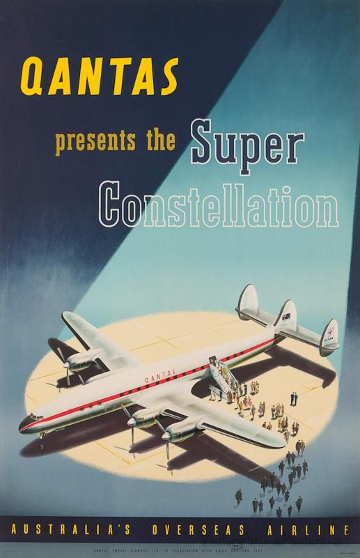 Qantas Vintage Airline Poster - Super Constellation