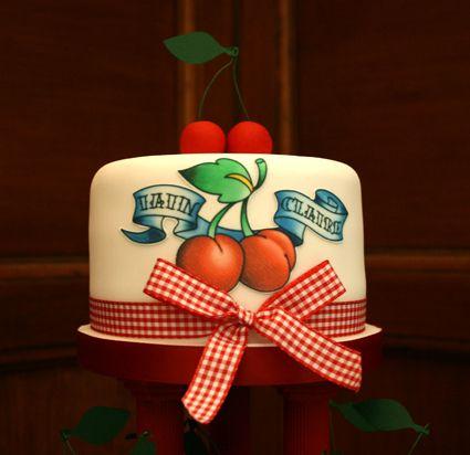Cherry Gingham Tattoo Cupcake Top Tier, via Flickr.