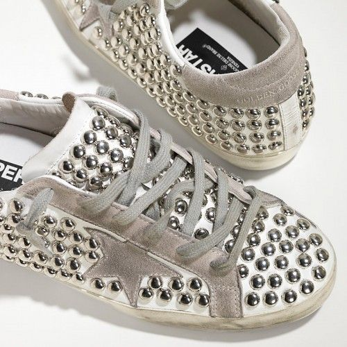 2016 Nouvelle Soldes Golden Goose Super Star Chaussures In Leather With Suede Star Femme Blanc Hommetal Pas Cher En Ligne