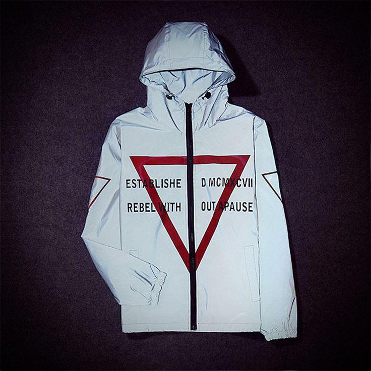 Харадзюку мужчин 3 м светоотражающие куртка с капюшоном пальто бейсбол куртки букв печатать пару бренд мода топы одежда весте Homme