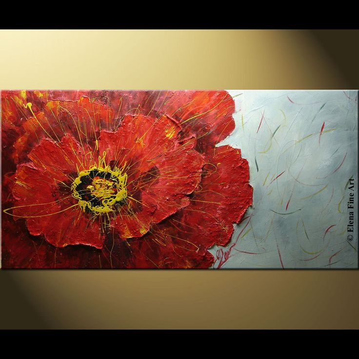 $260 ELENA Poppy acrylic abstract painting contemporary modern floral palette knife impasto 48x24