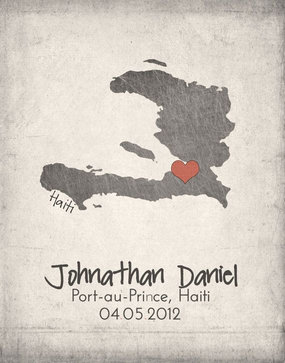 Haiti Map with Heart  Personalized by IfNotUsWhoWillBe on Etsy, $10.00