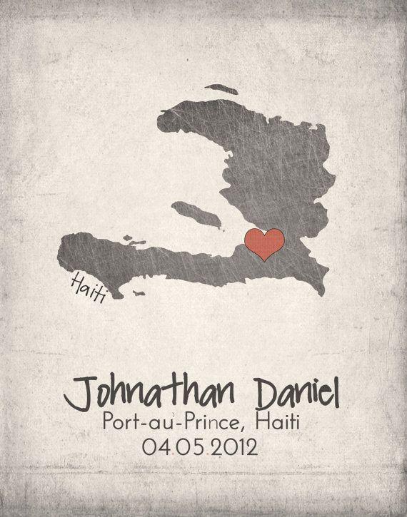 Haiti Map with Heart - Adoption Announcement