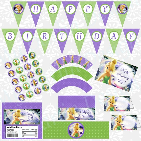 Tinkerbell DIGITAL Birthday Party Kit by MyDarlinDesigns on Etsy, $22.00