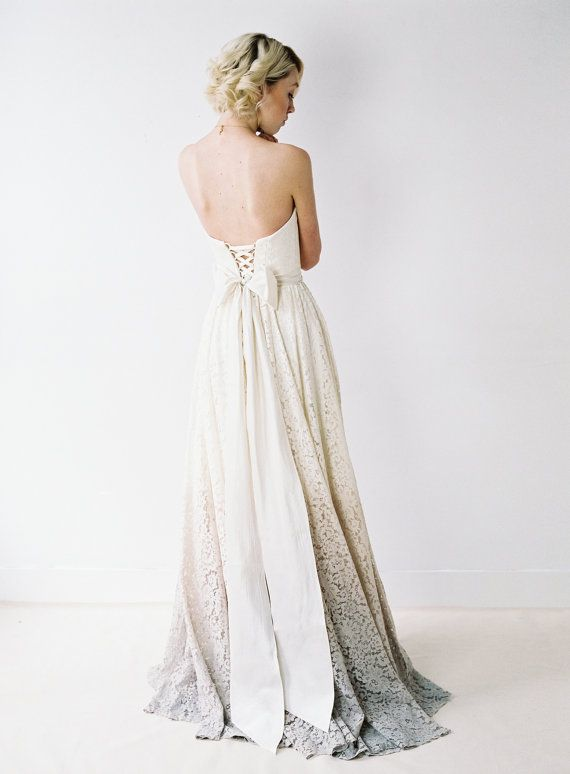 Taylor // A DipDyed Lace Wedding Gown by Truvelle on Etsy