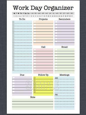 Mini organizador de trabajo - medio tamaño carta - planificador para Imprimir página, editable, diario planificador, planificador semanal, hacer, lista de verificación
