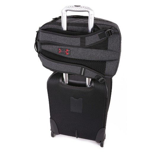 "Expertly crafted with strategically designed compartments to accommodate your key packing and digital essentials, this ultra-stylish, sophisticated SWISSGEAR Getaway Weekend Backpack instantly elevates your travel, distinguishing you from the rest of the crowd. A dedicated padded 15"" laptop compartment for added protection, a built-in add-a-bag panel, and a separate mesh interior pocket for clothing in the main compartment with an extra compartment for organization. Commute with ease and..."