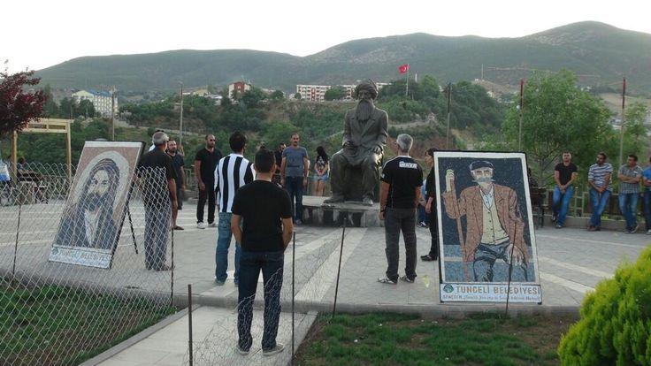 Dersim'de duran adam eylemleri ...seyit riza heykeli