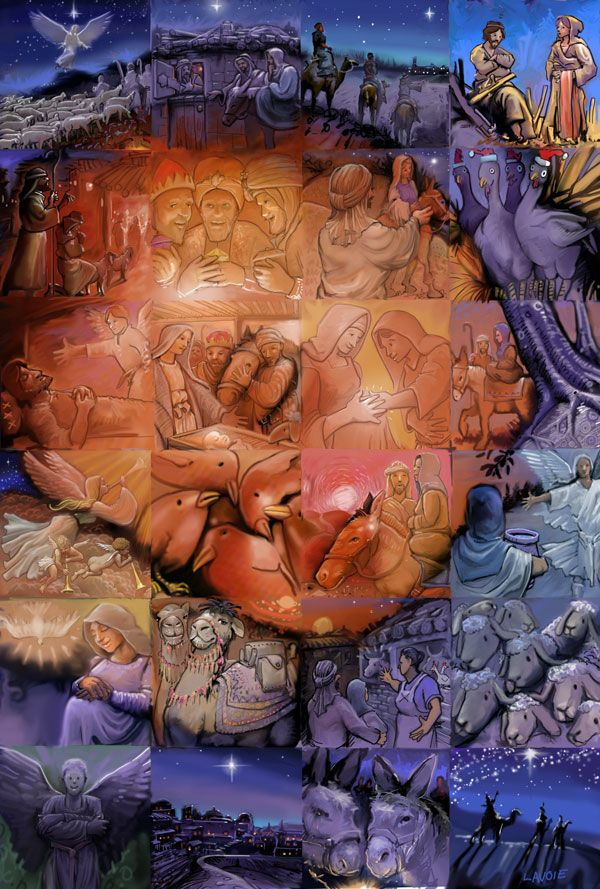 The Nativity~24 beautifully illustrated paintings by Lewis Lavoie with a video, unveiling a surprise image representing the true meaning of Christmas. Source: Mural Mosaic