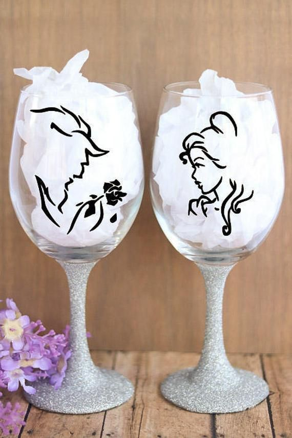 Beauty And The Beast Bundle Vinyl Wine Glass Sticker Decal