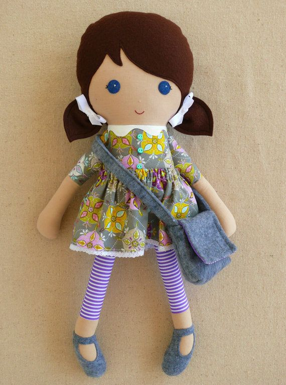 Reserved for Dyanna - Fabric Doll Rag Doll Brown Haired Girl in Gray Geometric Print Dress