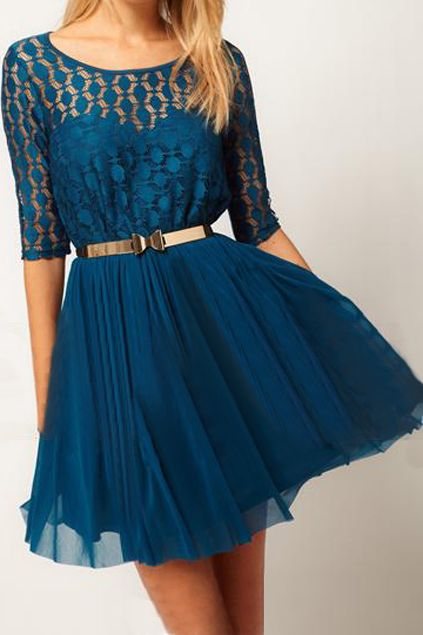 Double-layered Hollowed Blue Dress - this blue is soo gorgeous!! #romwepartydress