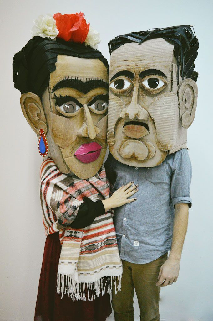 Frida and Diego go on a Halloween date. Check out these amazing heads built from cardboard, glue and paint. There's a tutorial for them too!