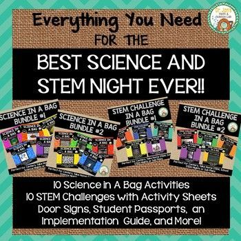 This bundle includes everything you need to have the BEST Science and STEM night EVER!! These school-wide events encourage families to join forces with their kids and enjoy some engaging science and STEM activities. I purposefully chose inexpensive and easy to access materials, many of which can be purchased at your local dollar store.