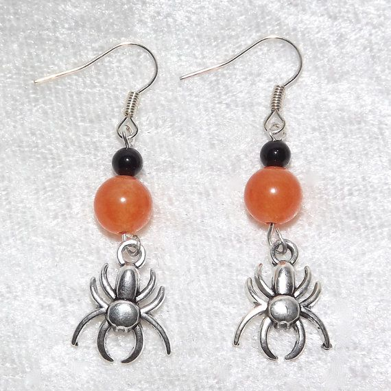 Earrings  Silver Tone Spiders  Gemstone  Free UK by KasumiCrafts