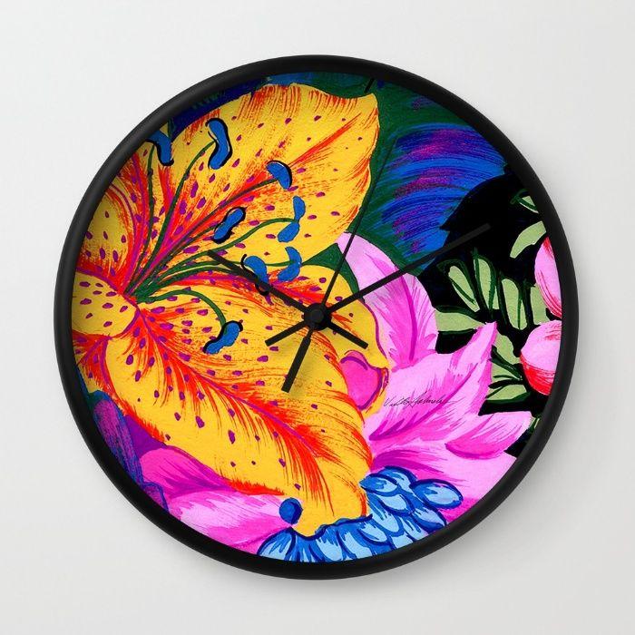 Let's Go Abstract Wall Clock by Vikki Salmela