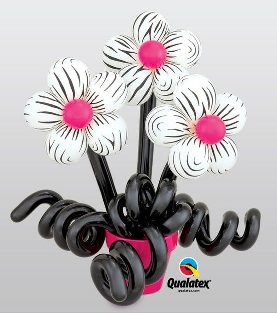 """These """"wild"""" #balloon #flowers with bright pink centers make a unique gift for birthday or Mother's Day. #zebra"""
