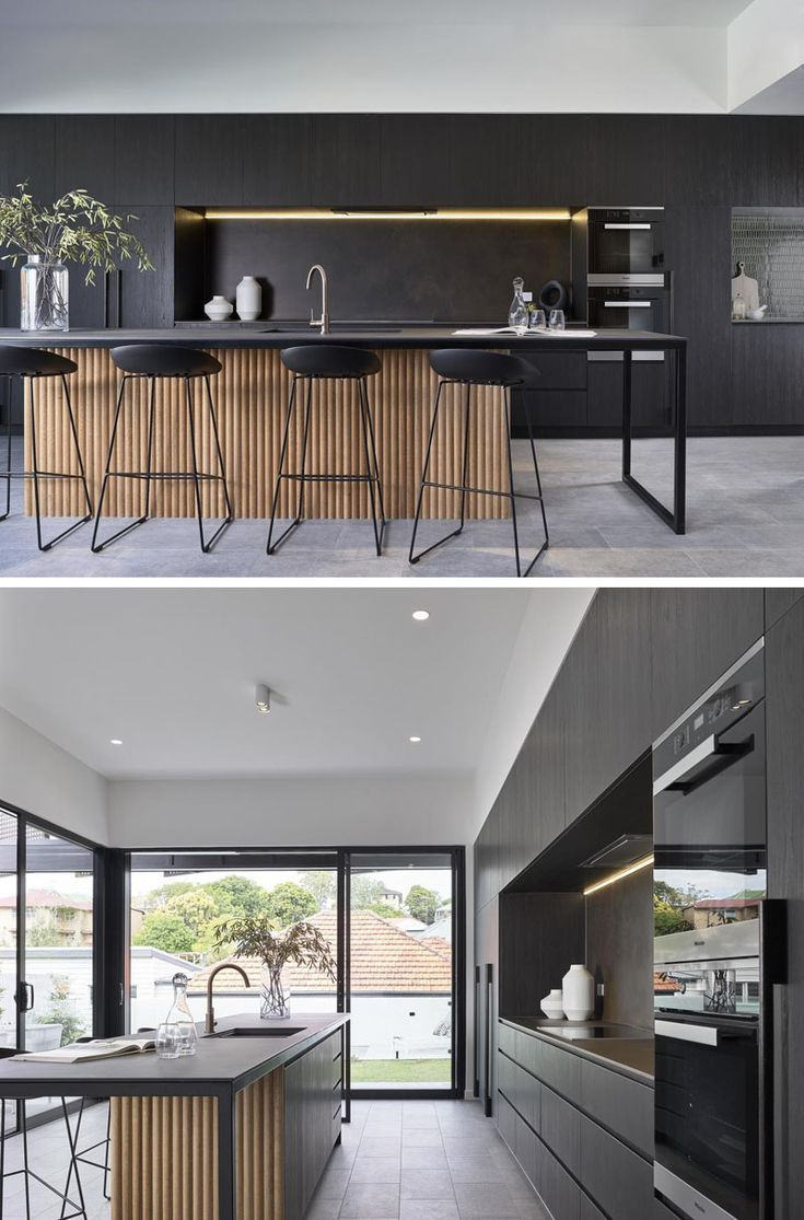 Large Metal Screens Provide Privacy For This New House Modern Kitchen Design Kitchen Room Design Cottage Kitchen Cabinets