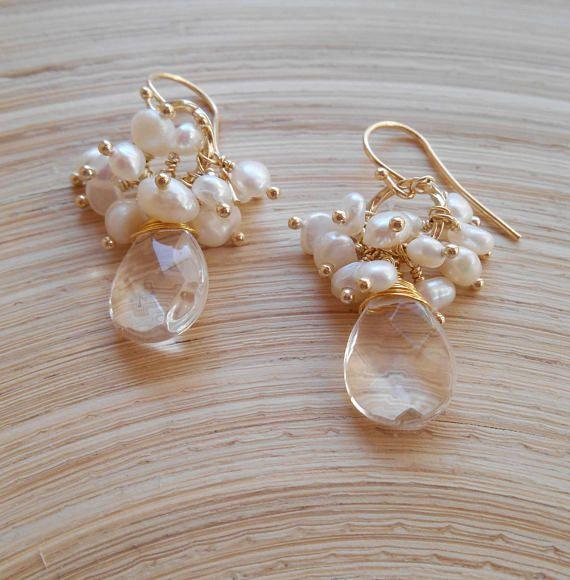 Vanille gemstone cluster earrings white dangle drop bridal