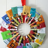 Daily craft idea site. This tea wreath is cute for a housewarming or hostess gift.