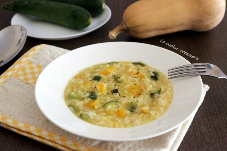 Risotto+zucca+e+zucchine+con+Bimby+e+senza