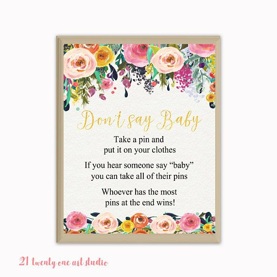 Floral Don't Say Baby Game Baby Shower Don't Say Baby