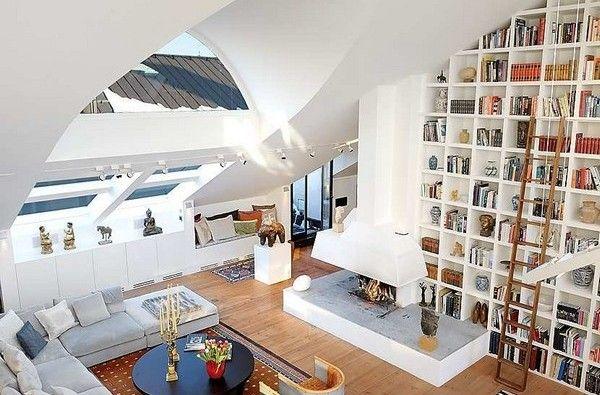 natural light!Libraries, Bookshelves, Livingroom, Interiors, Living Room, Loft, Bookcas, High Ceilings, Design