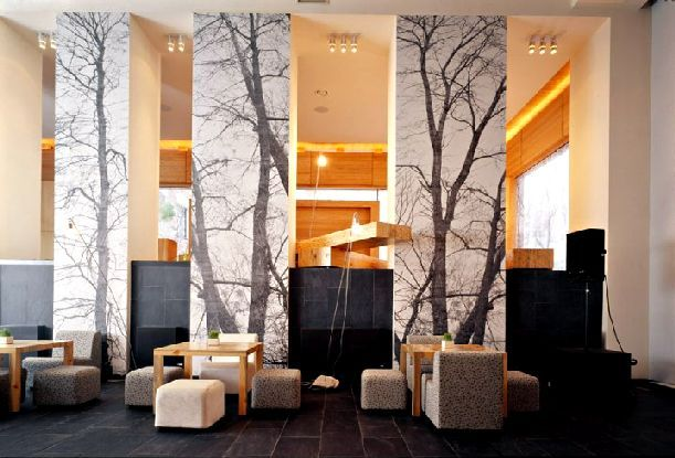Waiting area at hotel. Tree wall graphics are always a good addition to waiting areas- bring the outdoors inside.