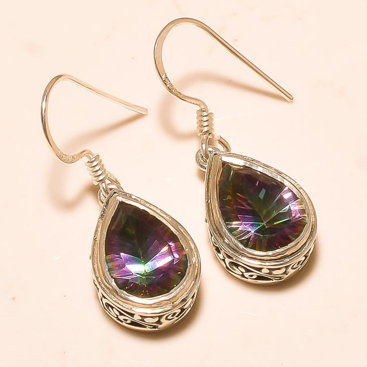 92.5% SOLID STERLING SILVER GORGEOUS MYSTIC TOPAZ AMAZING EARRING 2.50 CM #Handmade