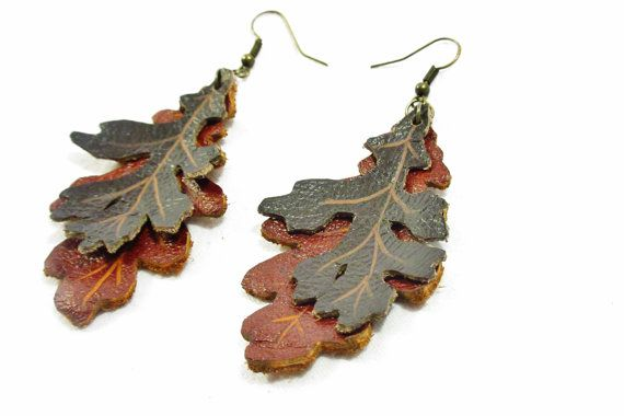 Leather leaf earrings Oak leaf earrings Hand by laurelicottage