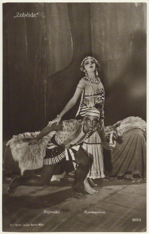 Vaslav Nijinsky  and Tamara Karsavina as Zobeida  and The Golden Slave in Schéhérazade of The Ballets Russes
