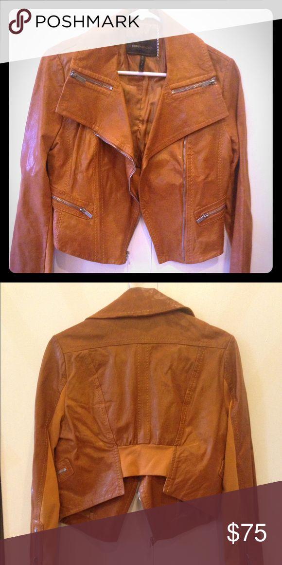 BCBGMAXAZRIA camel leather jacket Moto style real leather jacket I'm camel BCBGMaxAzria Jackets & Coats