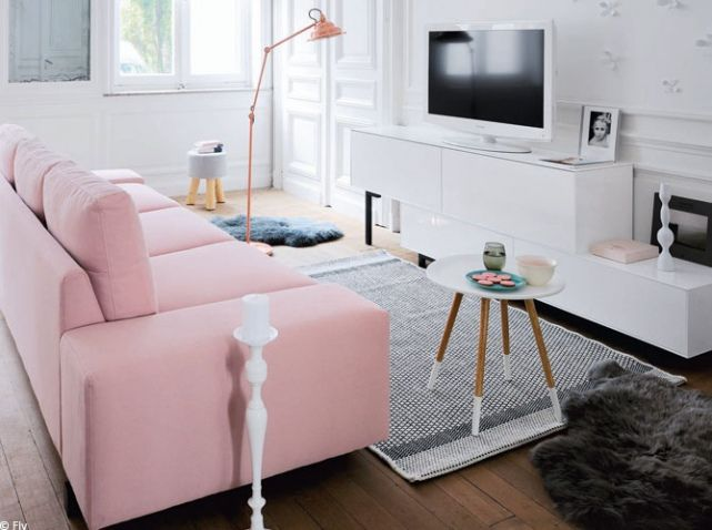 Petit salon rose pale home inspiration living room for Salon rose et gris