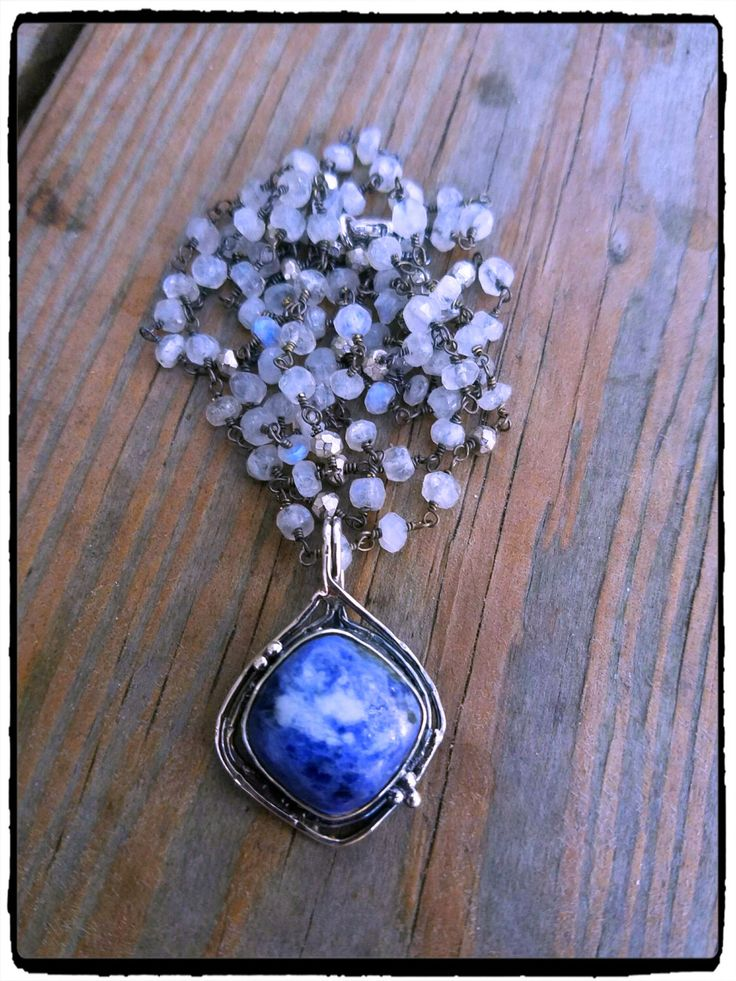 Sodalite & Moonstone, Pyrite Long Layering Boho Chic Necklace, Sterling Silver Pendant, Bohemian Luxe, Summer Fashion, Beach Bride, BohoChic by ShortDogJewelry on Etsy https://www.etsy.com/listing/466637238/sodalite-moonstone-pyrite-long-layering